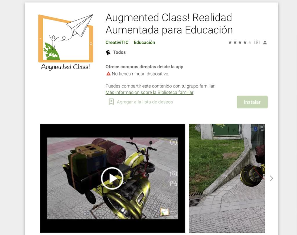 Aplicación Augmented Class! Realidad Aumentada para Educación