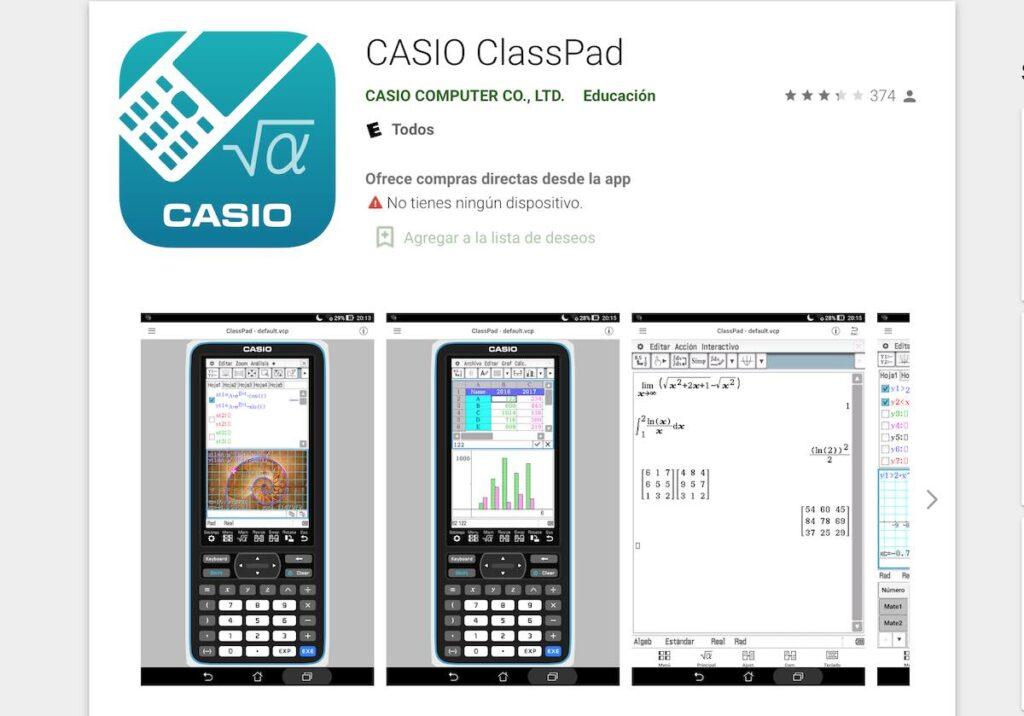 Casio ClassPad una aplicación educativa para realizar gran cantidad de cálculos matemáticos