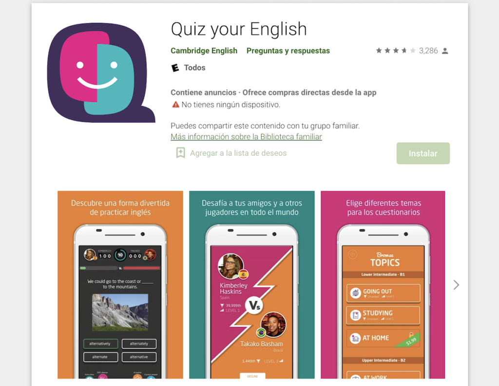 Aplicación Quizz your english, aplicación educativa para aprender Inglés a través de juegos