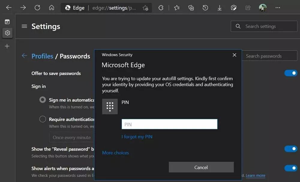 Agregando un código Pin para que los adultos puedan usar Microsoft Edge que tiene protección infantil