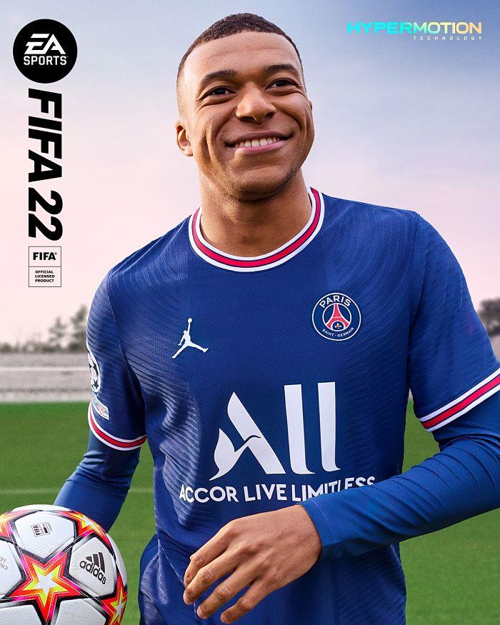 Portada oficial de FIFA 22 con Mbappé vistiendo la camiseta del Paris Saint Germain para PS5.